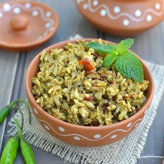 Brown Rice Green Pulao (Brown Rice & Mint Pilaf) Recipe   HeyFood — heyfoodapp.com