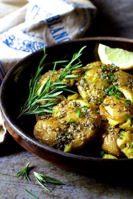 Rosemary Garlic Crushed Potatoes with Lemon Chive Aioli Recipe | HeyFood — heyfoodapp.com
