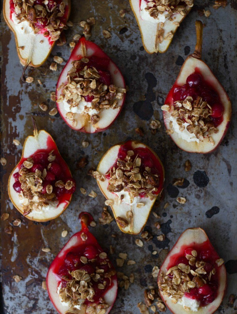 Cranberry & Goat Cheese Stuffed Pears Recipe | HeyFood — heyfoodapp.com