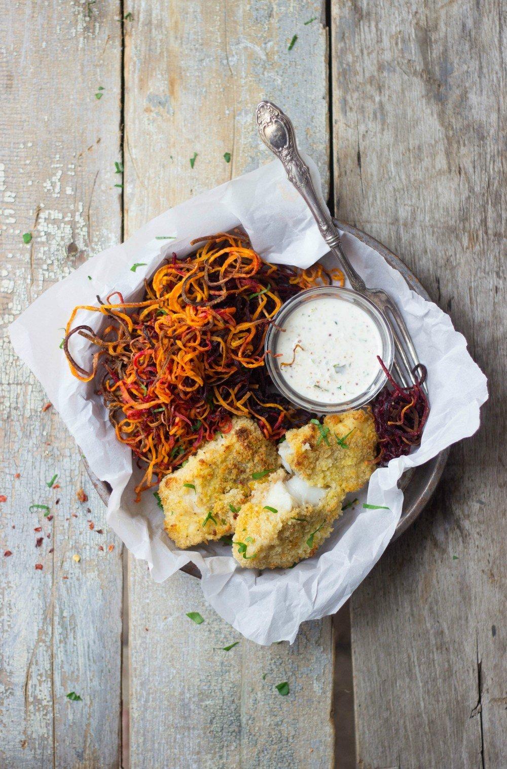 Crispy White Fish + Sweet Potato & Beet Curly Fries Recipe | HeyFood — heyfoodapp.com