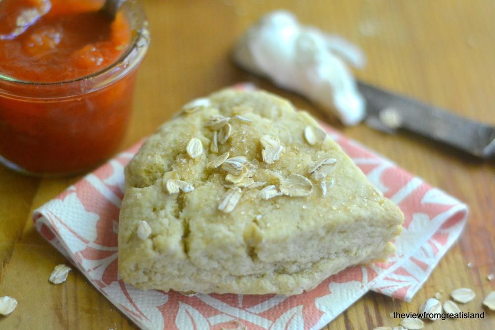 Oat Scones with Chop & Drop Peach Rhubarb Jam Recipe | HeyFood — heyfoodapp.com