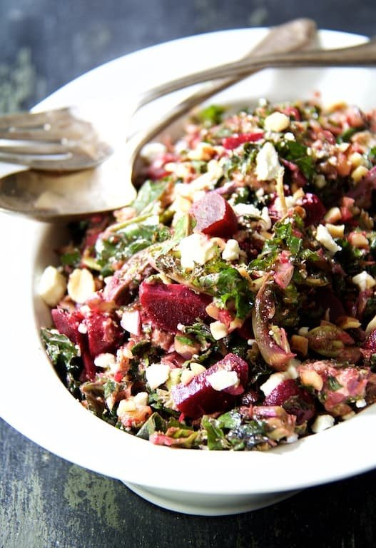 Shredded Kale Sprout and Baby Beet Salad with Walnuts and Goat Cheese Recipe | HeyFood — heyfoodapp.com