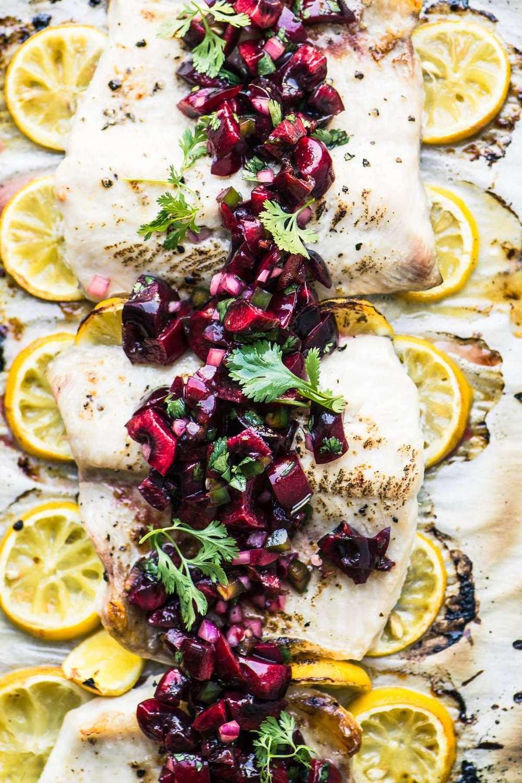 Whitefish with Cherry Salsa Recipe | HeyFood — heyfoodapp.com