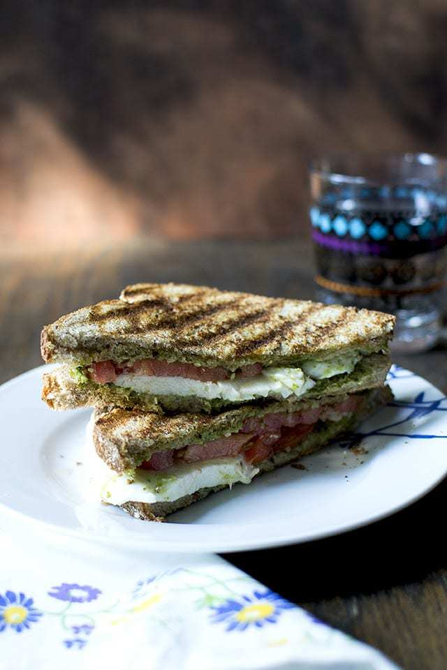 Tomato Cheese Sandwich with Pesto Recipe | HeyFood — heyfoodapp.com