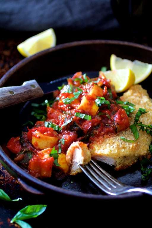 Chicken Scallopini with Roasted Vegetable Ratatouille Recipe | HeyFood — heyfoodapp.com