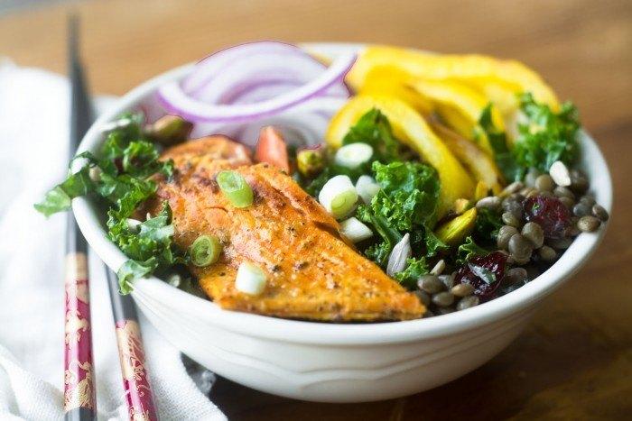Salmon Bowl with Kale and Lentils Recipe   HeyFood — heyfoodapp.com
