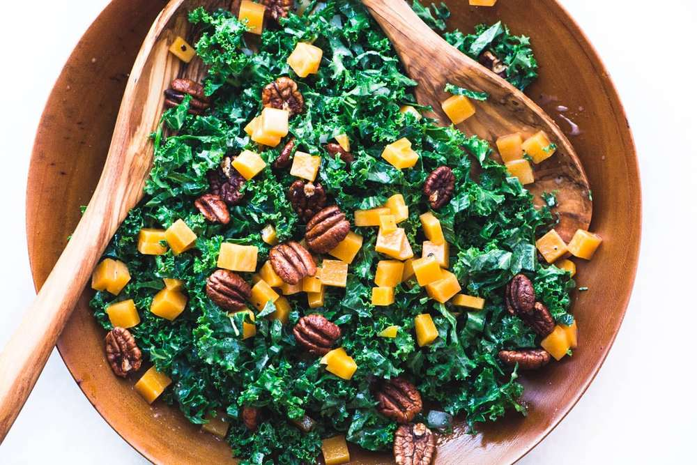 Kale and Butternut Salad with Maple Spiced Pecans Recipe | HeyFood — heyfoodapp.com