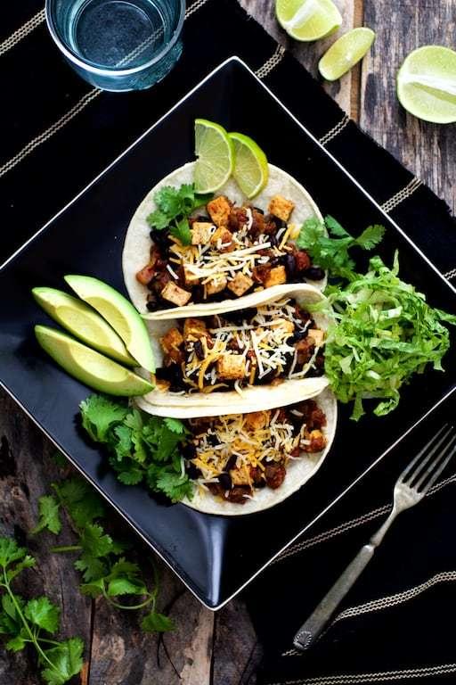 Tofu and Black Bean Tacos Recipe | HeyFood — heyfoodapp.com