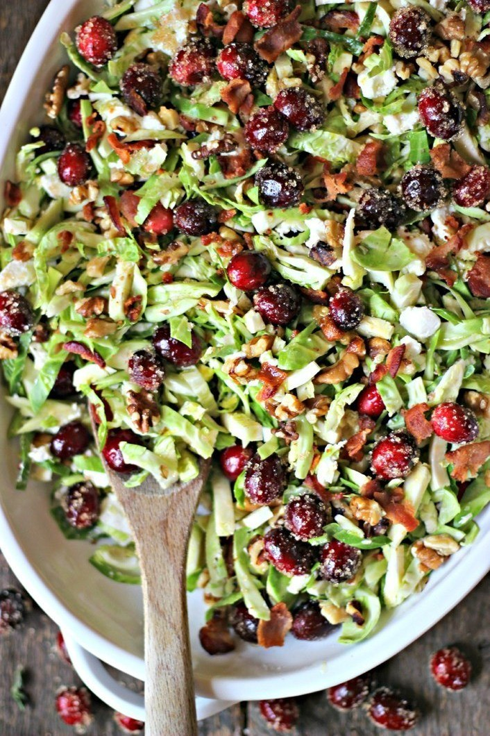 Brussels Sprouts Salad with Sugared Cranberries, Goat Cheese & Walnuts Recipe | HeyFood — heyfoodapp.com