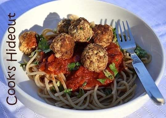 Tofu Balls with Spaghetti Recipe   HeyFood — heyfoodapp.com