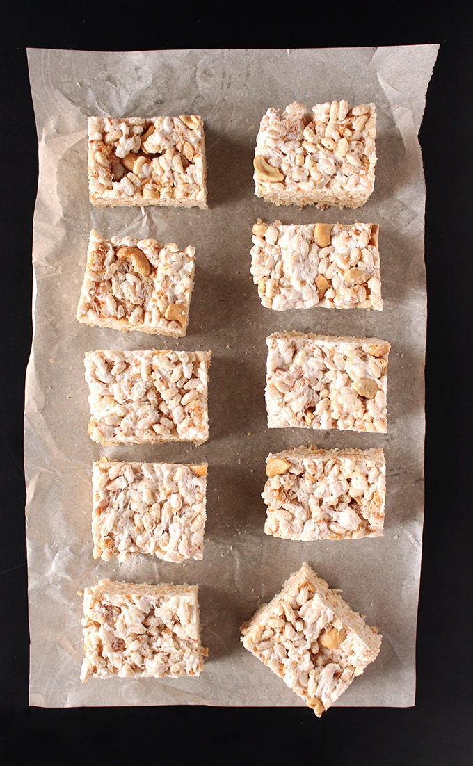 Toasted Coconut Cashew Rice Krispie Treats Recipe | HeyFood — heyfoodapp.com
