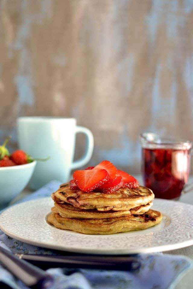 Strawberry-Chocolate Chip Pancakes with Strawberry Maple Syrup Recipe   HeyFood — heyfoodapp.com