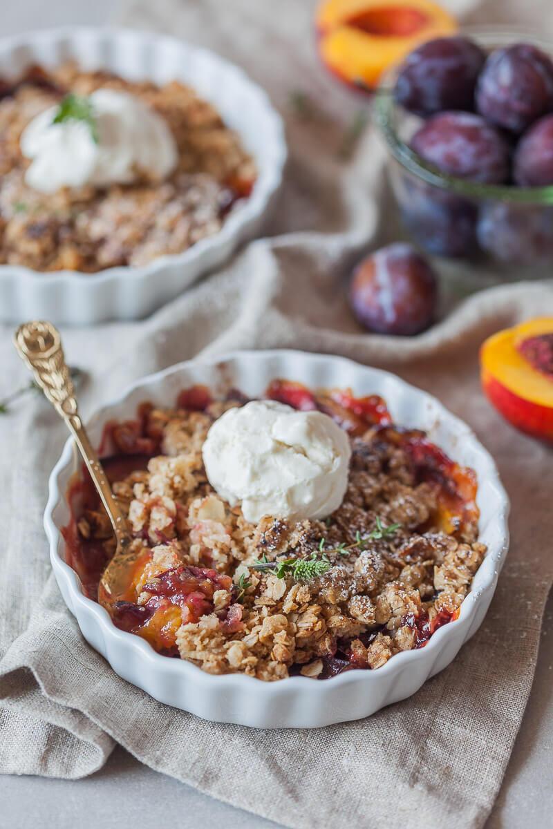 Peach and Plum Vegan Crumble Recipe | HeyFood — heyfoodapp.com