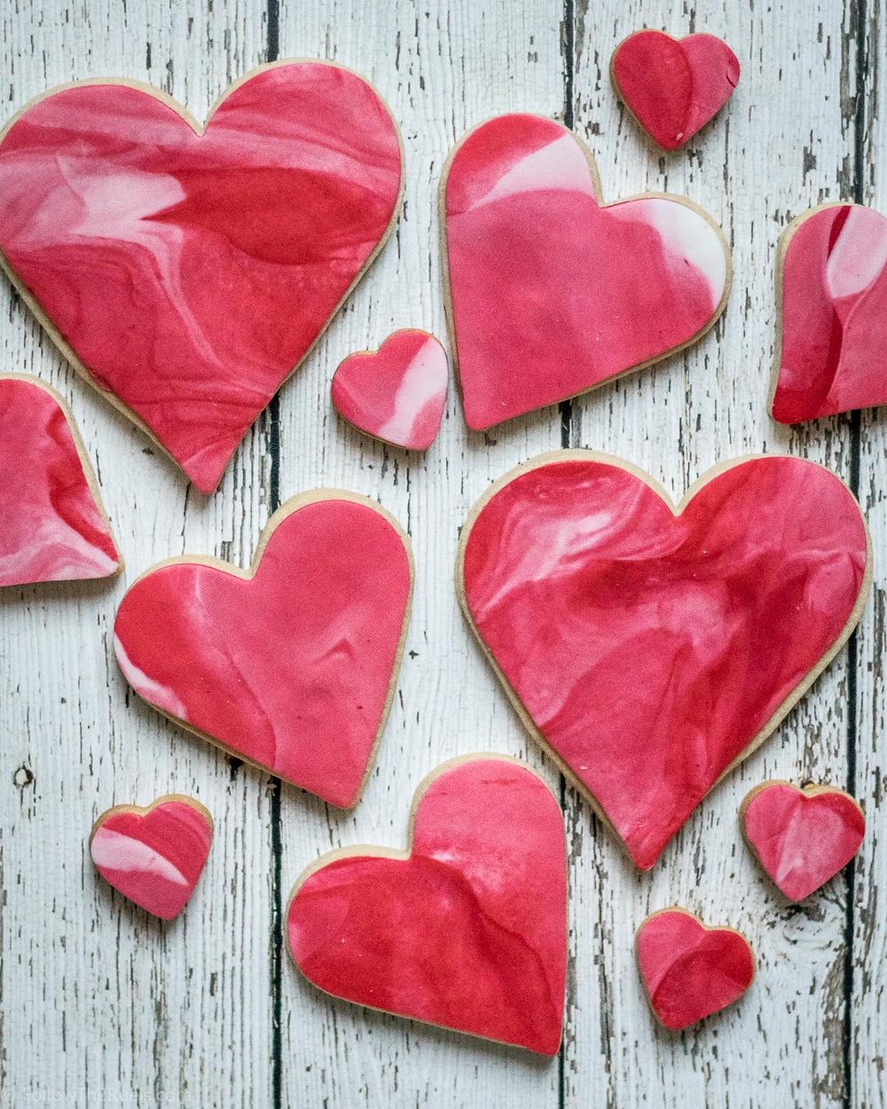 Easy Marbled Fondant Valentine's Day Cookies Recipe | HeyFood — heyfoodapp.com