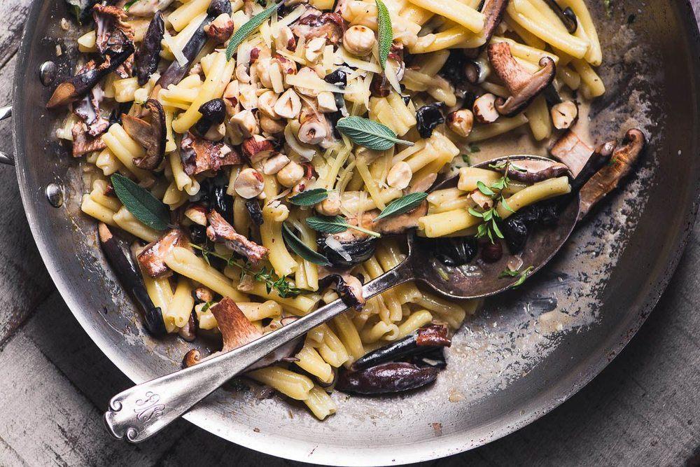 Pasta with Wild Mushrooms and Hazelnuts & Gruyere Recipe   HeyFood — heyfoodapp.com