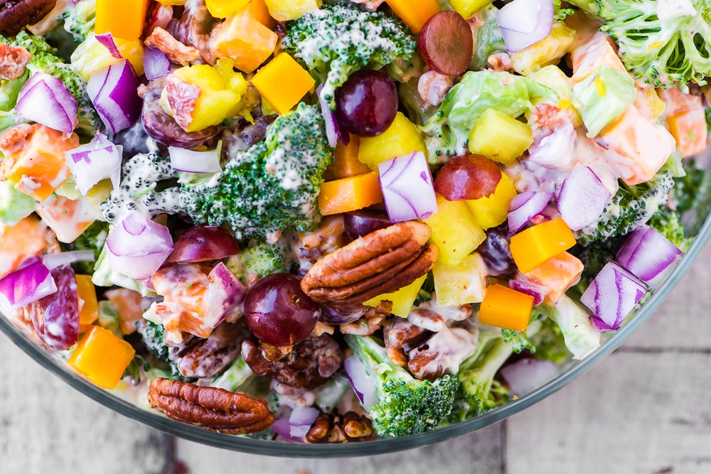 Broccoli Salad with Pineapple and Bacon Recipe | HeyFood — heyfoodapp.com