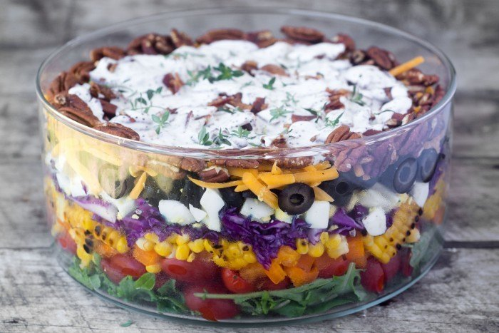 Layered Rainbow Salad Recipe | HeyFood — heyfoodapp.com