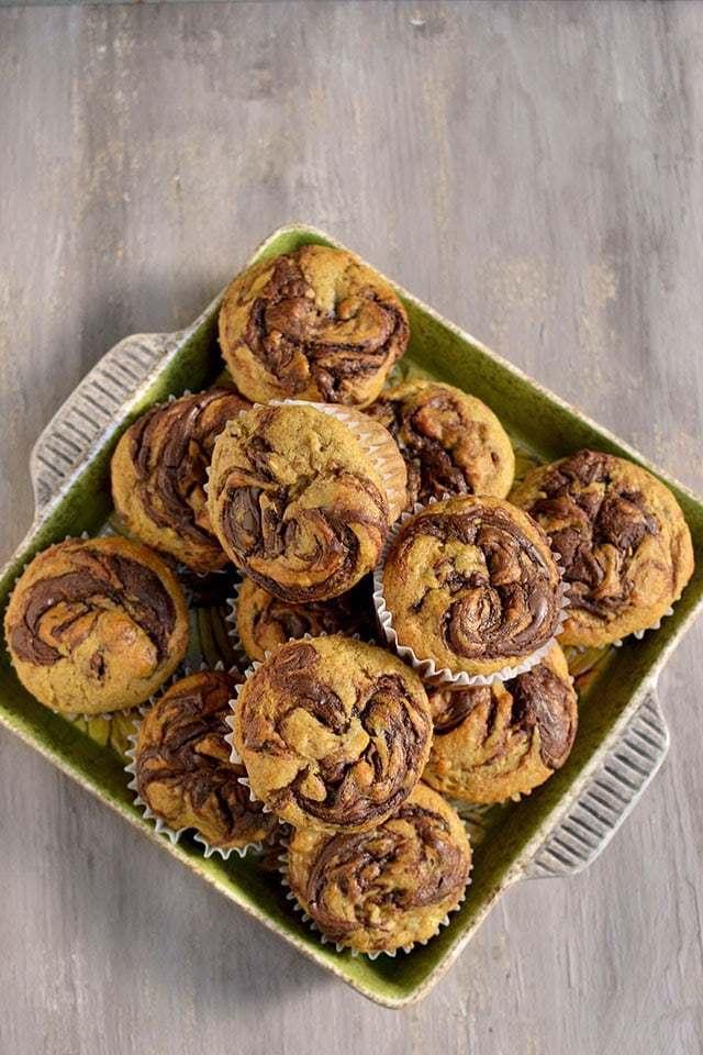 Banana Nutella Swirl Muffins Recipe | HeyFood — heyfoodapp.com