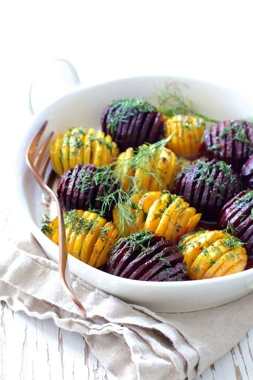 Roasted Hasselback Beets with Dill Dressing Recipe | HeyFood — heyfoodapp.com