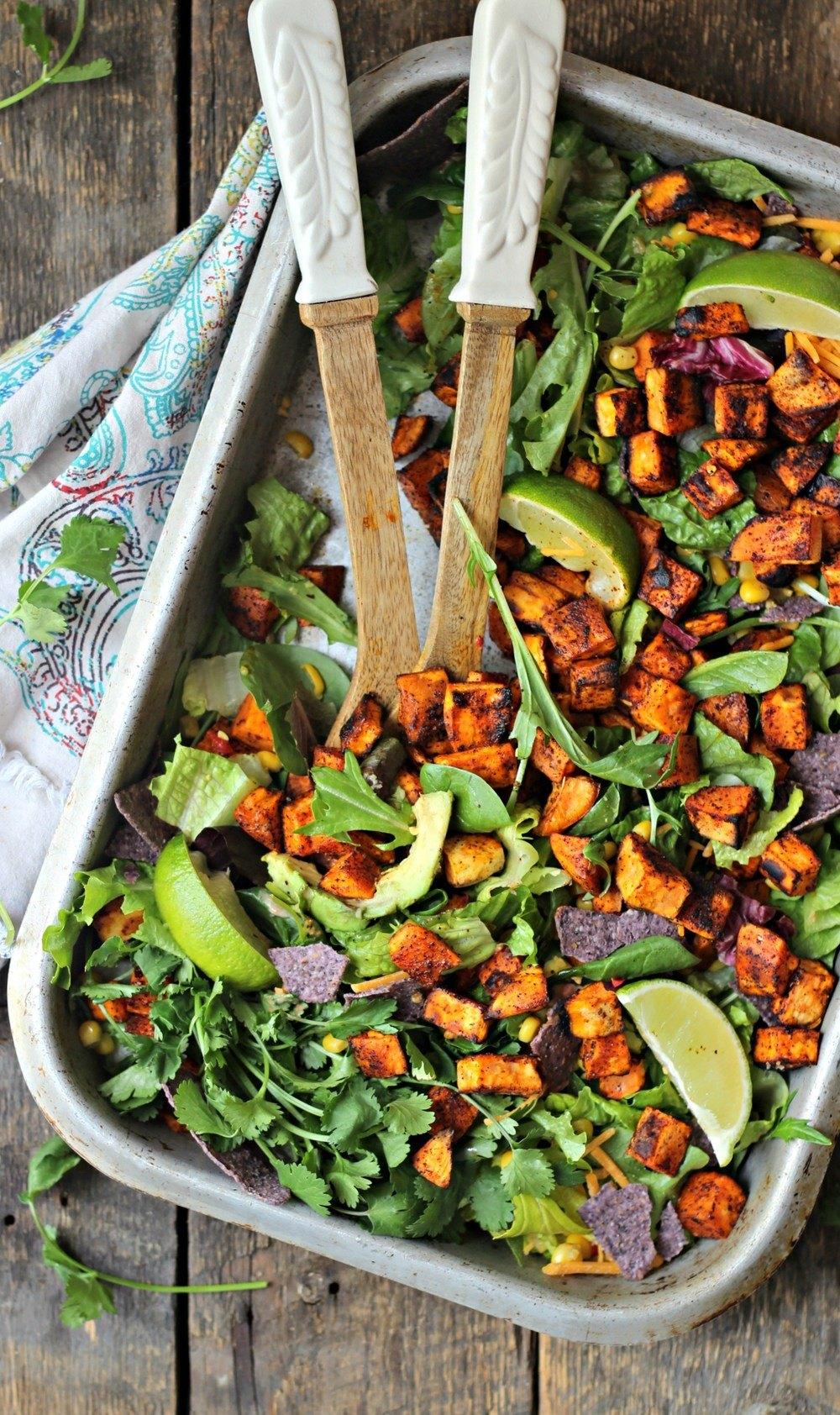Spicy Sweet Potato Taco Salad Recipe | HeyFood — heyfoodapp.com