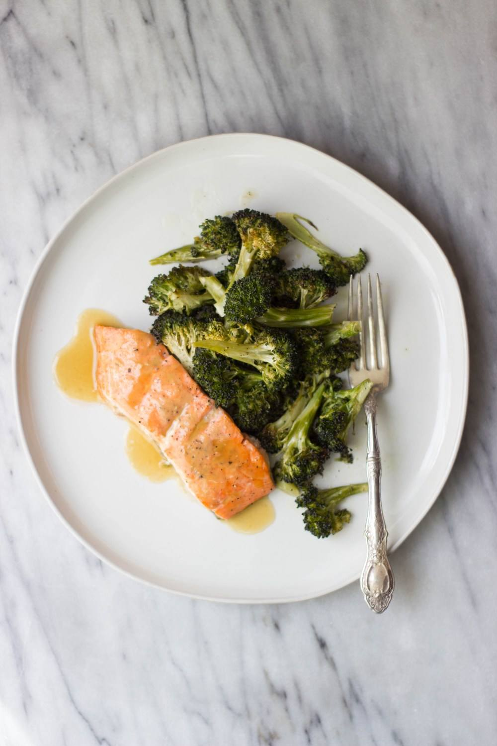 Maple Mustard Salmon + Roasted Broccoli Recipe | HeyFood — heyfoodapp.com