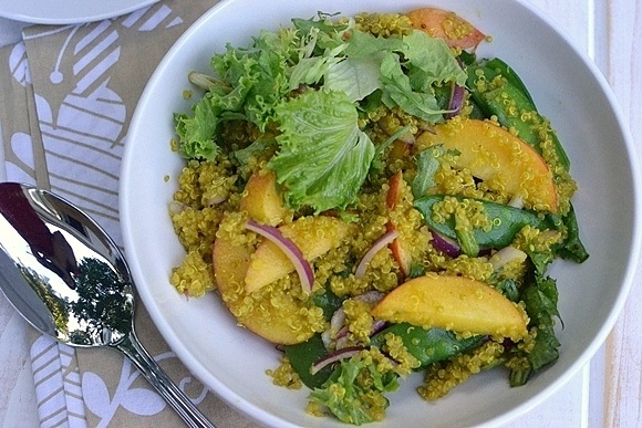 Curried Quinoa Salad with Peaches & Snow Peas Recipe | HeyFood — heyfoodapp.com