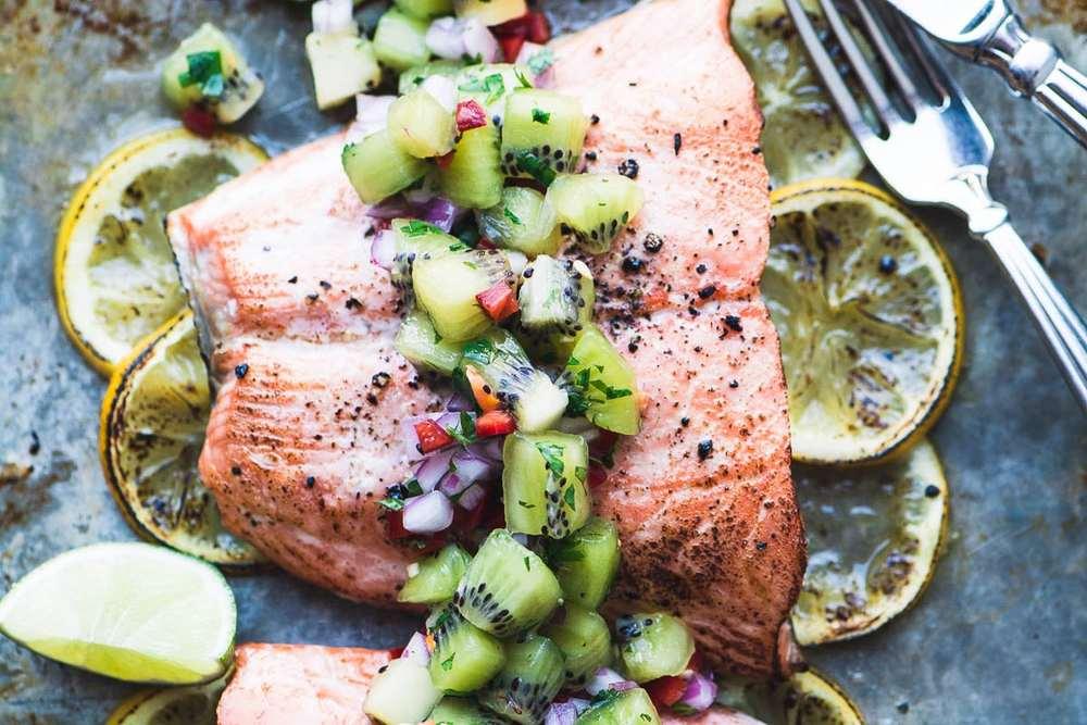 Roasted Salmon with Spicy Kiwi Salsa Recipe | HeyFood — heyfoodapp.com