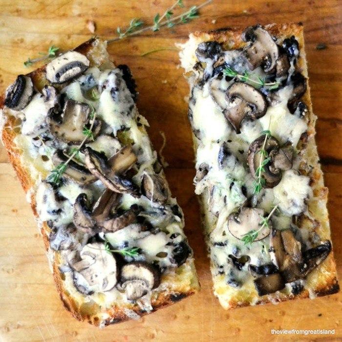 Mushroom & Gruyere Bruschetta Recipe | HeyFood — heyfoodapp.com
