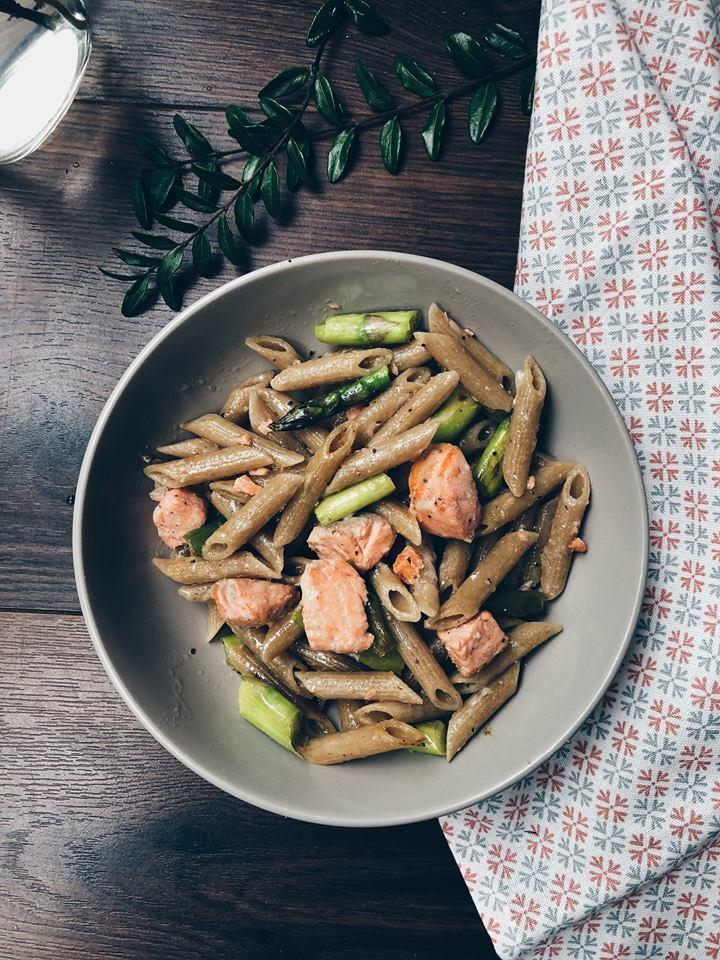 Asparagus & trout pasta Recipe | HeyFood — heyfoodapp.com