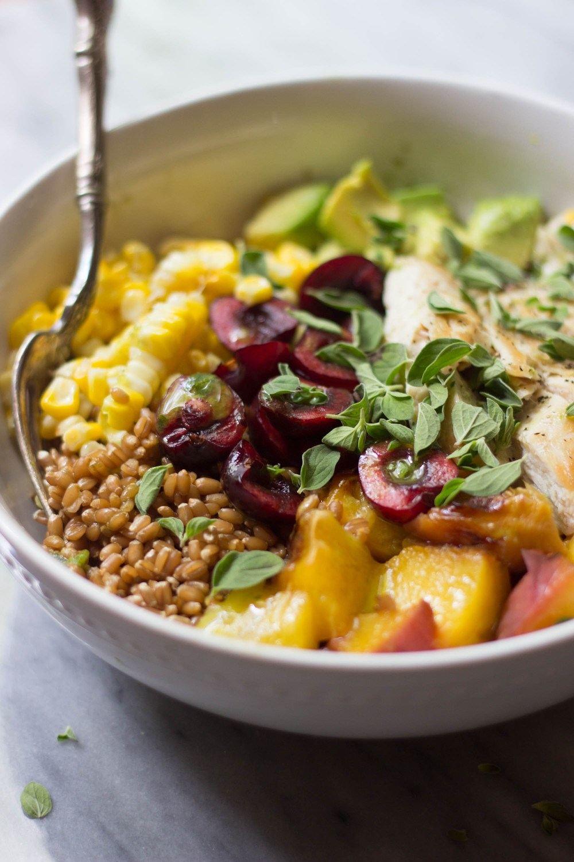 Grilled Peach & Sweet Corn Summer Grain Bowls Recipe | HeyFood — heyfoodapp.com