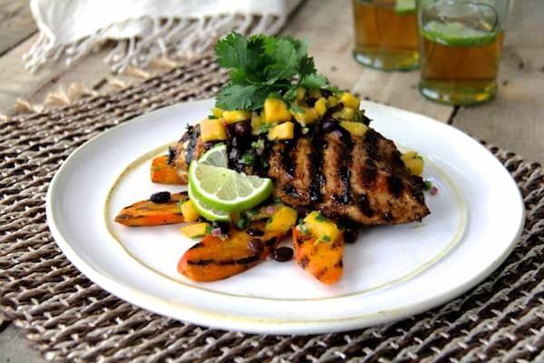 Jamaican Jerk-Style Chicken with Black Bean Mango Salsa Recipe | HeyFood — heyfoodapp.com