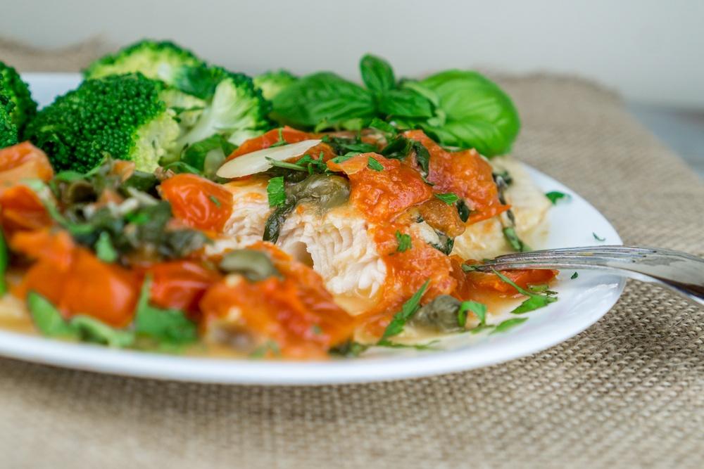 Swai with Tomato Caper Sauce Recipe | HeyFood — heyfoodapp.com