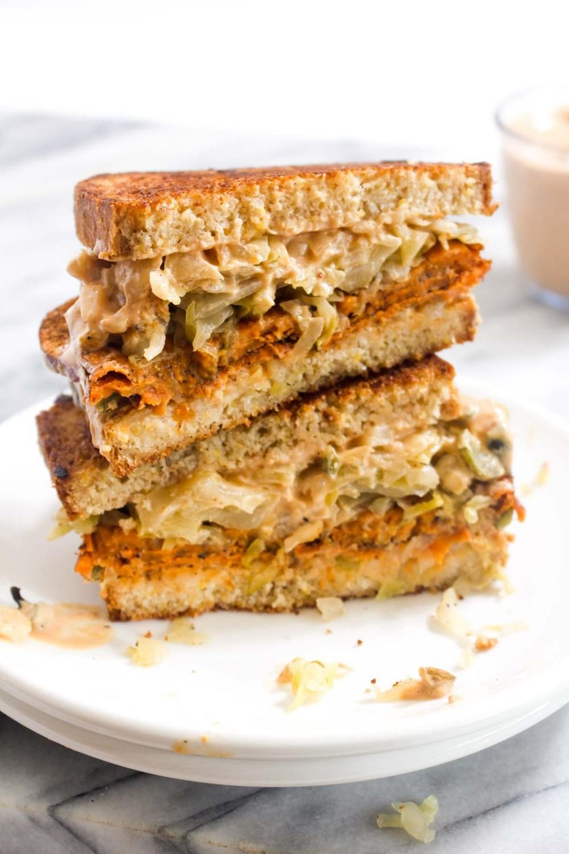 Sweet Potato Pastrami Reuben Sandwich Recipe   HeyFood — heyfoodapp.com