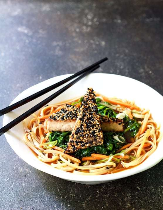 Sesame Tofu with Spinach and Rice Noodles in Ginger Broth Recipe | HeyFood — heyfoodapp.com