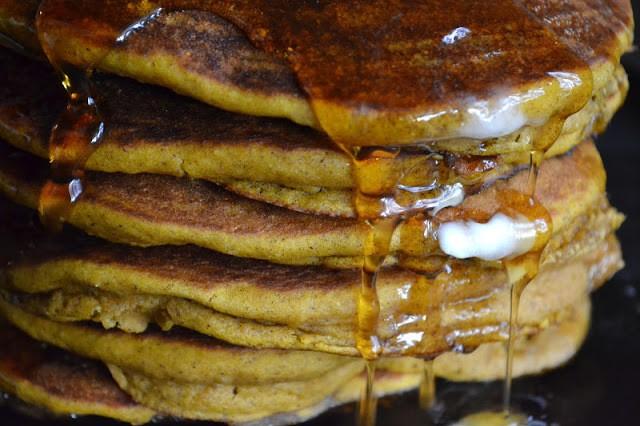 Seven Grain Pumpkin Pancakes Recipe | HeyFood — heyfoodapp.com
