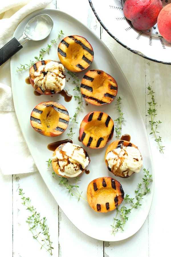 Grilled Peaches with Vanilla Ice Cream and Honey Balsamic Drizzle Recipe | HeyFood — heyfoodapp.com