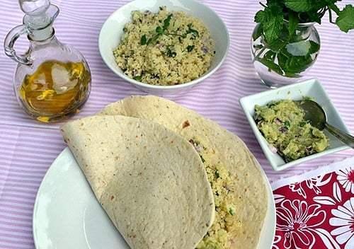 Tabbouleh with Guacamole in a Tortilla Wrap Recipe | HeyFood — heyfoodapp.com