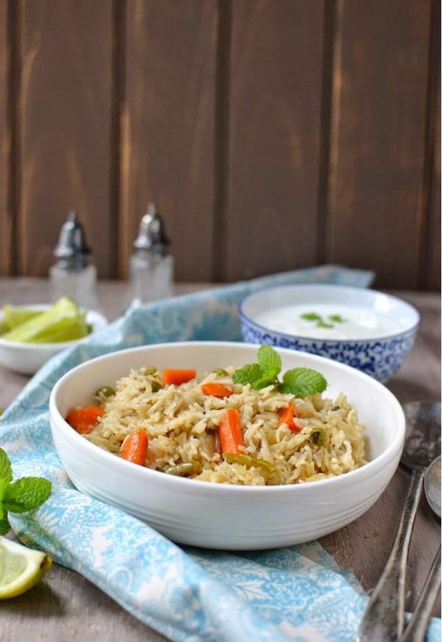 Pudina Vegetable Pulao Recipe | HeyFood — heyfoodapp.com