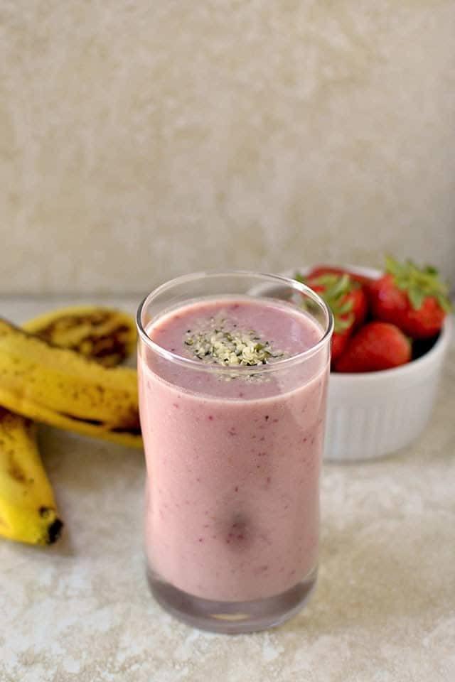 Banana Strawberry Protein Smoothie Recipe   HeyFood — heyfoodapp.com