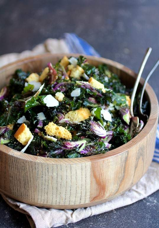 Massaged Kale Sprout Caesar Salad Recipe | HeyFood — heyfoodapp.com