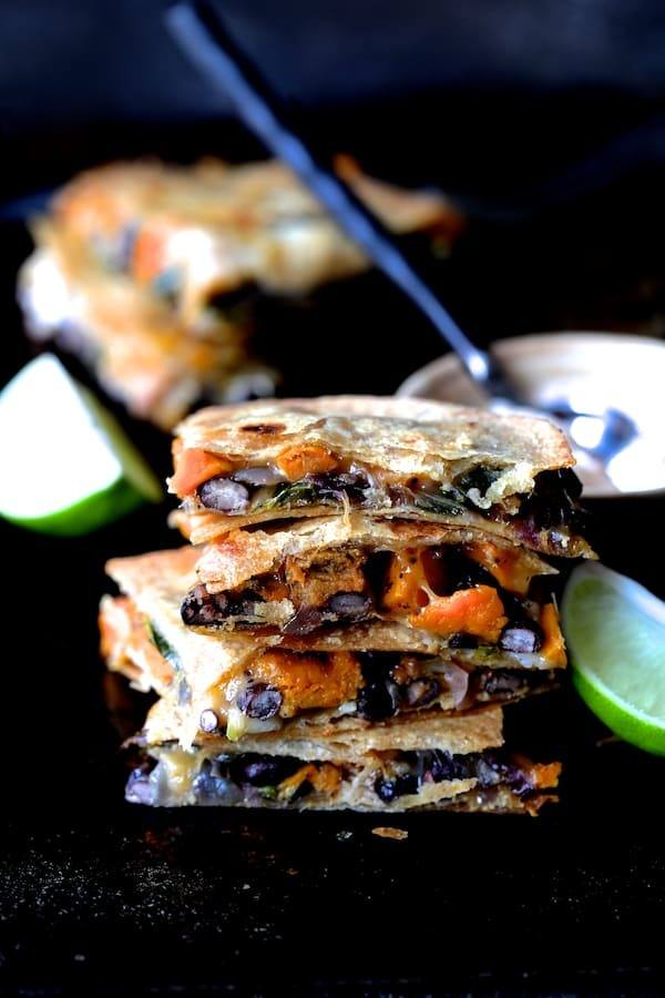 Sheet Pan Sweet Potato Poblano and Black Bean Quesadillas with Chipotle Sour Cream Recipe | HeyFood — heyfoodapp.com