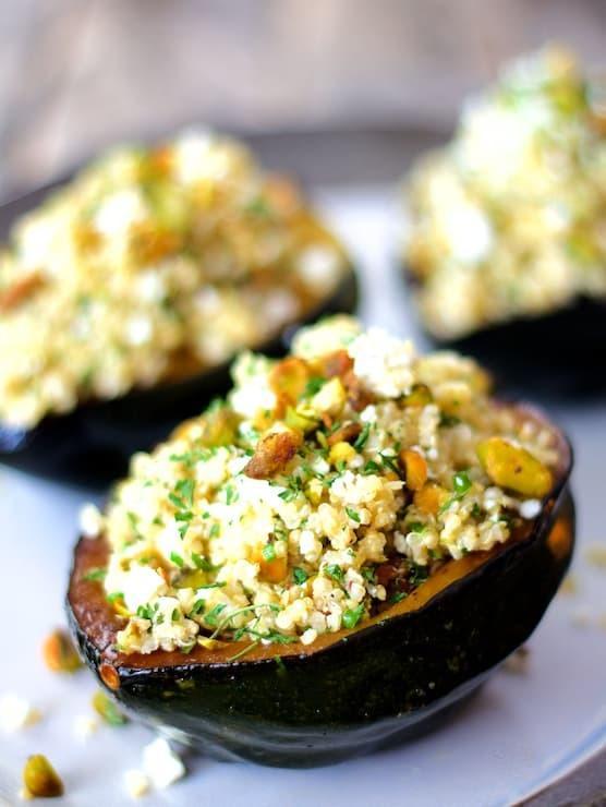 Quinoa, Feta and Pistachio-Stuffed Acorn Squash Recipe | HeyFood — heyfoodapp.com