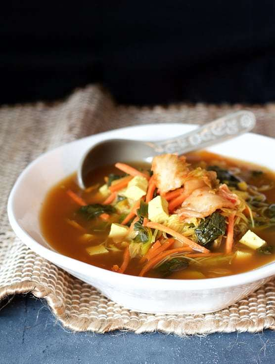 Asian Vegetable Soup with Tofu, Kimchi and Rice Noodles Recipe | HeyFood — heyfoodapp.com