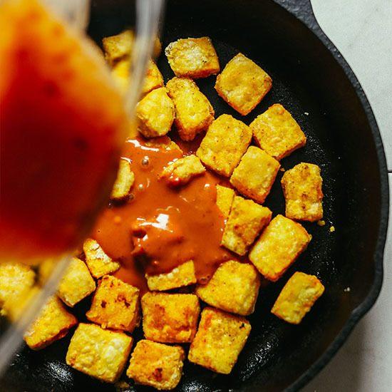 Baked Crispy Peanut Tofu Recipe | HeyFood — heyfoodapp.com