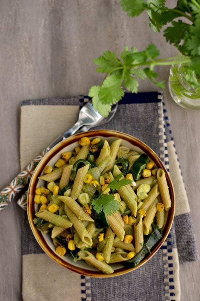 Pasta with Poblano Chilies, Corn and Cilantro Cream Recipe | HeyFood — heyfoodapp.com