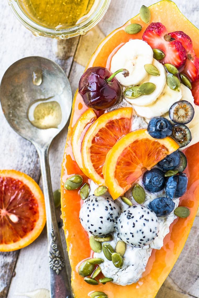 Papaya Breakfast Boats Recipe   HeyFood — heyfoodapp.com
