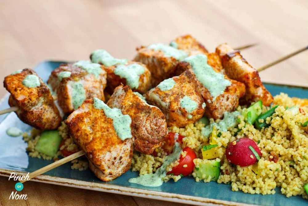 Moroccan Salmon Skewers With Cous Cous | Slimming & Weight Watchers Friendly Recipe | HeyFood — heyfoodapp.com