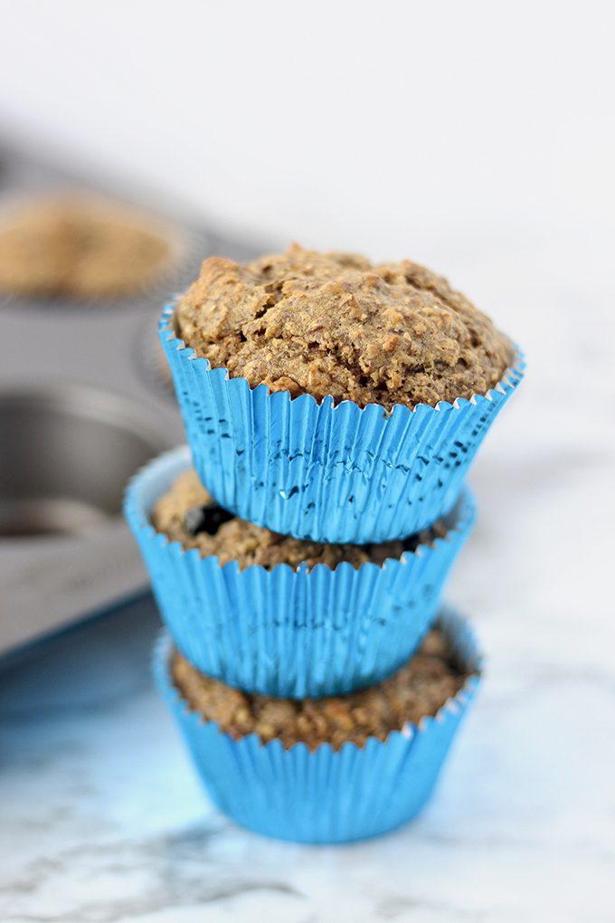 Vegan Blueberry Banana Bran Muffins Recipe   HeyFood — heyfoodapp.com