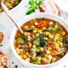 Summer Corn Zucchini White Bean Soup Recipe   HeyFood — heyfoodapp.com