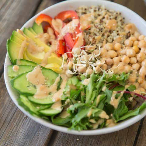 Rainbow Quinoa Satay Bowl Recipe   HeyFood — heyfoodapp.com